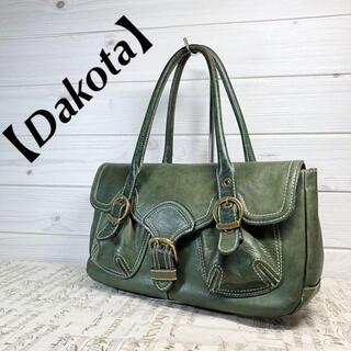 ダコタ(Dakota)の【Dakota】本革トートバッグ 深緑色 ダブルポケット ゴールド金具 底鋲(トートバッグ)