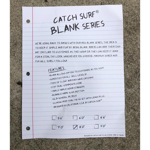 CATCH SURF 8フィート BLANK series キャッチサーフ スポーツ/アウトドアのスポーツ/アウトドア その他(サーフィン)の商品写真