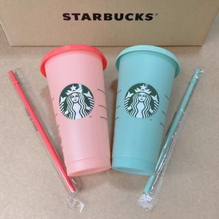 Starbucks Coffee - カラーチェンジング リユーザブルコールドカップ709ml グリーン レッド