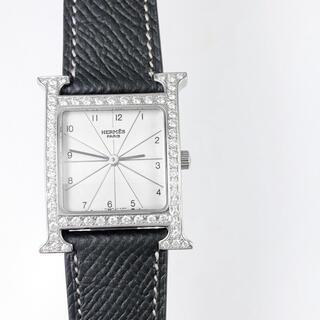 エルメス(Hermes)の【仕上済/ベルト2本】エルメス Hウォッチ シルバー ダイヤ メンズ 腕時計(腕時計(アナログ))