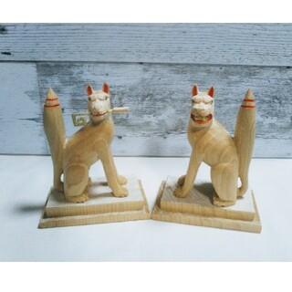 お稲荷様(稲荷神)の御遣い、狛狐の木彫り、新品、彫刻、置き物(彫刻/オブジェ)