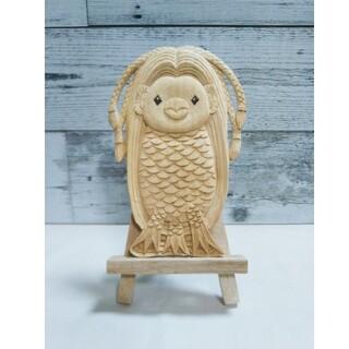 妖怪アマビエ様の彫刻②、裏に文字入り、新品、透かし彫り、木彫、置き物(彫刻/オブジェ)
