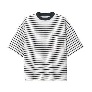 MUJI (無印良品) - ☆未使用☆ 無印良品 超長綿天竺編みクルーネックTシャツ オフ白ボーダー 今季