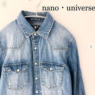 ナノユニバース(nano・universe)のnano・universe ナノユニバース デニムシャツ 七分袖 Sサイズ(シャツ)