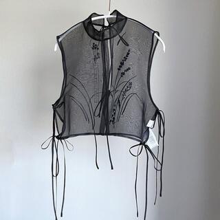 mame - Mame Floral Jacquard Sheer Vest
