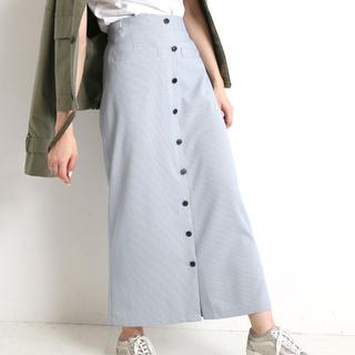 IENA SLOBE - SLOBE citron. カラーチェックアイラインスカート36 サックスブルー