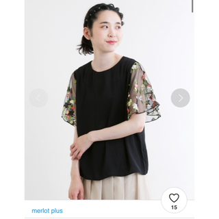 メルロー(merlot)のメルロープリュス 花刺繍レーススリーブブラウス(シャツ/ブラウス(半袖/袖なし))