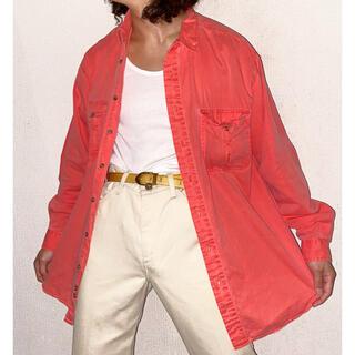 エディーバウアー(Eddie Bauer)のvintage eddie bauer 製品染め オーバーサイズ ピンク シャツ(シャツ)