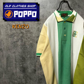 KENZO - ケンゾーゴルフKENZO☆日本製刺繍ロゴ入りマルチライン切替ポロシャツ