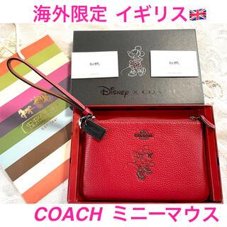 コーチ(COACH)の【coach x Disney】クラッチバック リストレットポーチ❣️レッド(ポーチ)