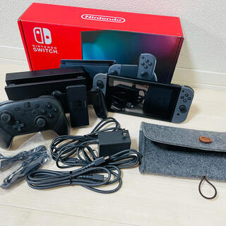 Nintendo Switch - 任天堂 スイッチ 本体 グレー プロコン  専用ケース付き