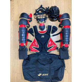 エスエスケイ(SSK)のキャッチャー防具 ヘルメット、膝クッション、専用袋付き(防具)
