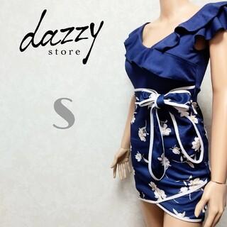 dazzy store - フラワープリント フリルライン ウエストリボン タイト キャバドレス