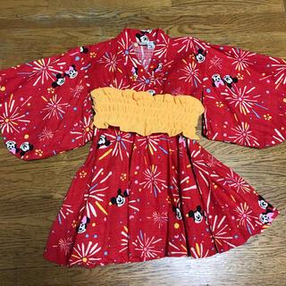 ディズニー(Disney)のミッキー ミニー 浴衣 帯付き 90 (甚平/浴衣)