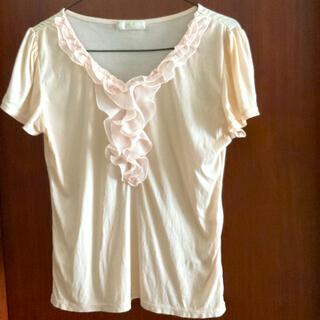 エニィスィス(anySiS)のエニシス シフォンフリル付カットソー Tシャツブラウス ピンク(Tシャツ(半袖/袖なし))