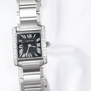 カルティエ(Cartier)の【仕上済】カルティエ タンク フランセーズ 黒文字盤 SM ダイヤ 腕時計(腕時計)