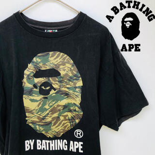 A BATHING APE - エイプ ビックシルエット ビックロゴ 迷彩柄 黒Tシャツ