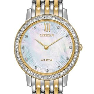CITIZEN - 新品 海外限定シチズン スワロフスキー71石 MOP レディース ソーラー腕時計