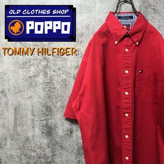 TOMMY HILFIGER - トミーヒルフィガー☆フラッグ刺繍ロゴ半袖チノボタンダウンシャツ 90s