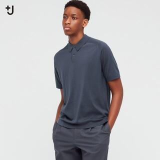 UNIQLO - +J ユニクロ シルクコットン ニットポロシャツ M グレー ジルサンダー