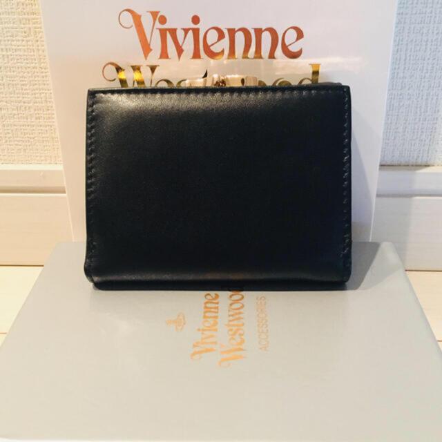 Vivienne Westwood(ヴィヴィアンウエストウッド)の新品☆ ヴィヴィアンウエストウッド Vivienneレザー3つ折り財布 ブラック レディースのファッション小物(財布)の商品写真