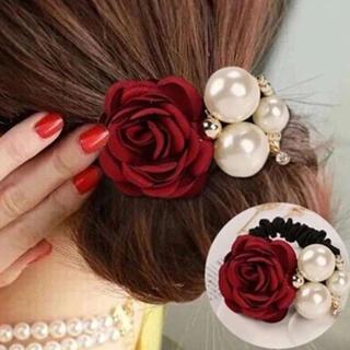 ヘアゴム パール 真珠 薔薇 バラ ゴム 韓国 花 パーティー 黒 赤