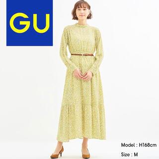 GU - 【雑誌掲載】フラワープリントスタンドカラーワンピース イエロー クリーム M