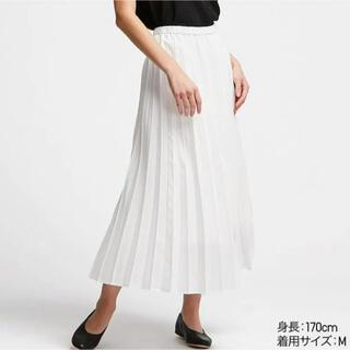 ユニクロ(UNIQLO)のユニクロ プリーツロングスカート ホワイト(ロングスカート)