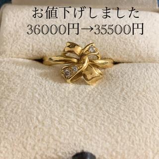 MIKIMOTO - ミキモト K18ダイヤ入り リボンリング