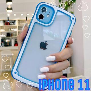 シンプル フレーム iPhoneケース iPhone11 ネオンブルー