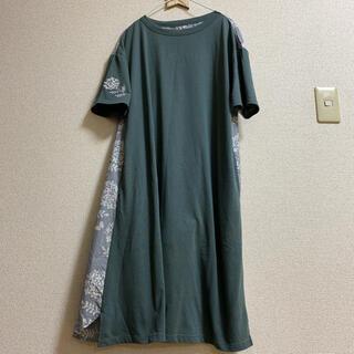 グラニフ(Design Tshirts Store graniph)のグラニフ ペブリーペタルズ ミックスファブリックワンピース(ひざ丈ワンピース)