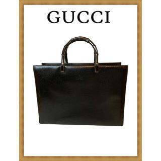 グッチ(Gucci)の【美品♪】グッチ トートバッグ ビジネス バンブー ブラック(ハンドバッグ)
