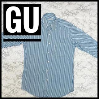ジーユー(GU)のGU メンズストライプシャツ Sサイズ ホワイト×グリーン(シャツ)