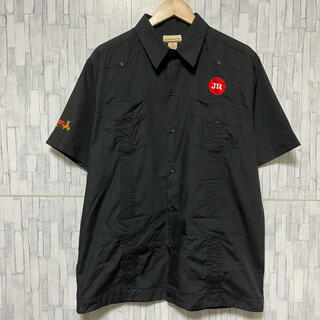 COMME des GARCONS - 【80s】キューバシャツ 古着 刺繍 ビッグサイズ ブラック オープンカラー