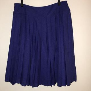 グローブ(grove)のgrove プリーツスカート ブルー(ひざ丈スカート)