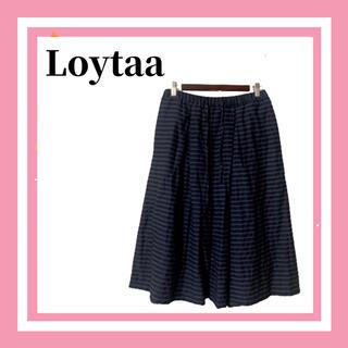 サマンサモスモス(SM2)の美品 Loytaa ロユタ SM2 ボーダー フレアスカート 膝丈 レディース(ひざ丈スカート)