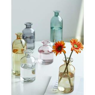 フラワーベース ブラウン 花瓶 ガラス 北欧韓国インテリア シンプル