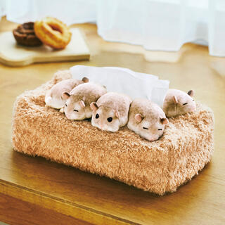 フェリシモ(FELISSIMO)のぎゅうぎゅう集まって眠る ハムスターのボックスティッシュカバー  (ティッシュボックス)