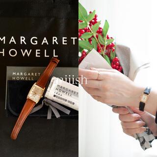 マーガレットハウエル(MARGARET HOWELL)の未使用 マーガレットハウエル スモールセコンド スクエアレザーウォッチ 腕時計(腕時計)