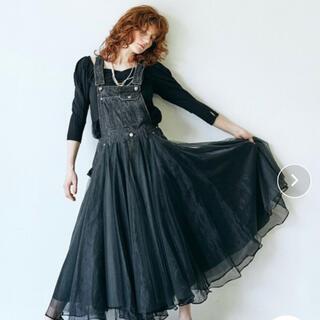 ラベルエチュード(la belle Etude)の【Belle vintage】ボリュームチュールデニムサロペット(サロペット/オーバーオール)