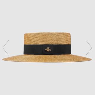 Gucci - グッチ 麦わら帽子 ストローハット カンカン帽 ラメファブリック パピエ ハチ