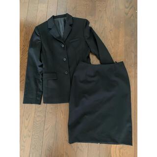 RU - 黒 ブラック レディース スカート スーツ 上下 セットアップ