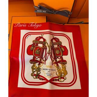 エルメス(Hermes)のエルメス ナノカレ20 BRIDES de GALA レッド シルクスカーフ(バンダナ/スカーフ)