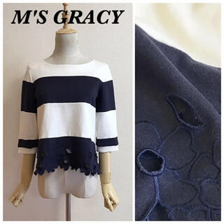 M'S GRACY - M'S GRACY 裾フラワー刺繍バイカラーカットソー
