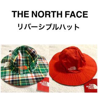 ザノースフェイス(THE NORTH FACE)の新品☆ノースフェイス キッズ 帽子 ハット 紐付き オレンジ  緑チェック 子供(帽子)