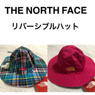 ザノースフェイス(THE NORTH FACE)の新品☆ノースフェイス キッズ 帽子 ハット 紐付き 水色 チェック ピンク 子供(帽子)