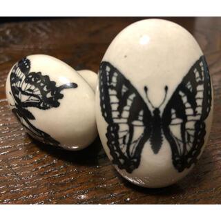 フランフラン(Francfranc)のFrancfranc 陶器 蝶柄 ノブ 取手 2個セット(その他)