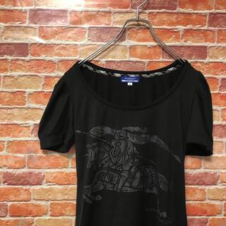 バーバリーブルーレーベル(BURBERRY BLUE LABEL)の【美品】バーバリーブルーレーベル Burberry 半袖tシャツ カットソー M(カットソー(半袖/袖なし))