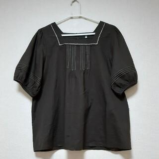 KIETH 綿50麻50%  ダークブラウン size44(L~LL) 美品(シャツ/ブラウス(半袖/袖なし))