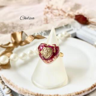 リリーブラウン(Lily Brown)のオーロラ偏光ピンク ハート薔薇のドライフラワー ガーリークラシカルリング 指輪(リング)